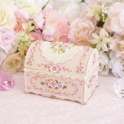 Vintage Trinket Jewelry Box Pink Roses Rhinestones Shabby Chic