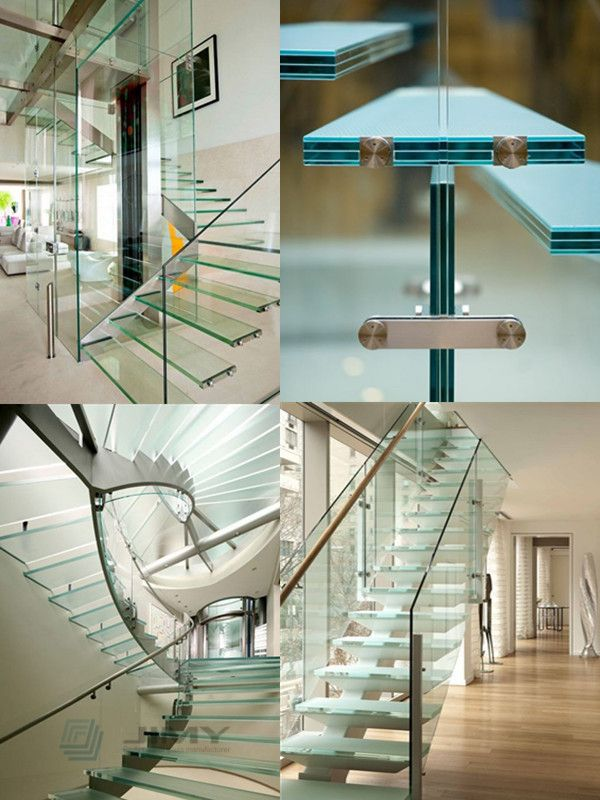 Triple Tempered Laminated Glass Staircase Flat Curved Safety