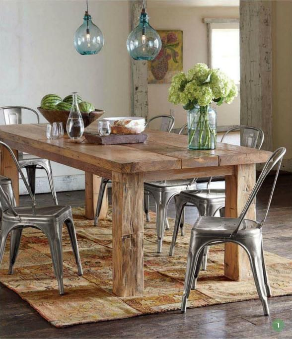 Reclaimed Wood Table From Floor Boards Love The Texture Between And Metal Chairs
