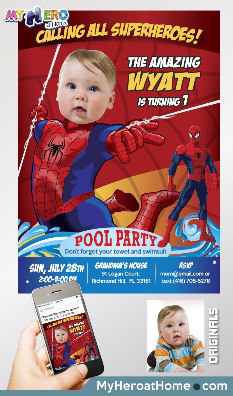 spiderman pool party invitation pool