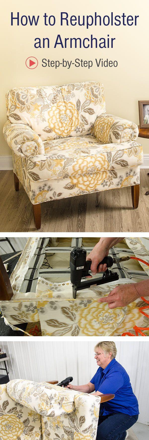 how to reupholster an armchair video pinterest fauteuils tapisserie et meubles. Black Bedroom Furniture Sets. Home Design Ideas