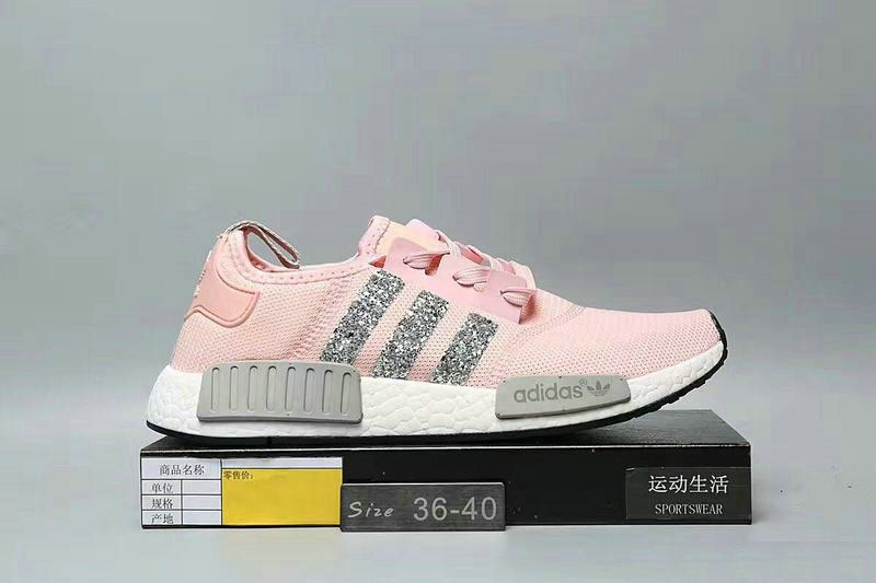 5b9cf7bea7bfb 2018-2019 New Arrival Running Shoes Swarovski 2018 Blinged Adidas Nmd  Runner Pink Grey White Athletic Shoes Swarovski Crystal Shoes 2018 Glitter