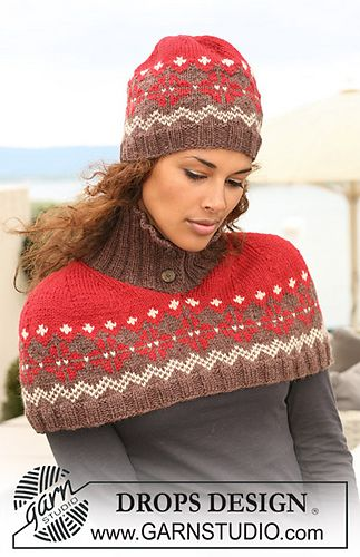 """Knitted hat with Norwegian pattern in """"Nepal"""" by DROPS design"""