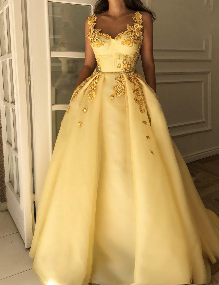 Jasmine Blossoms Gown Princess Prom Dresses Evening Dresses Long Prom Dresses Yellow [ 1168 x 900 Pixel ]
