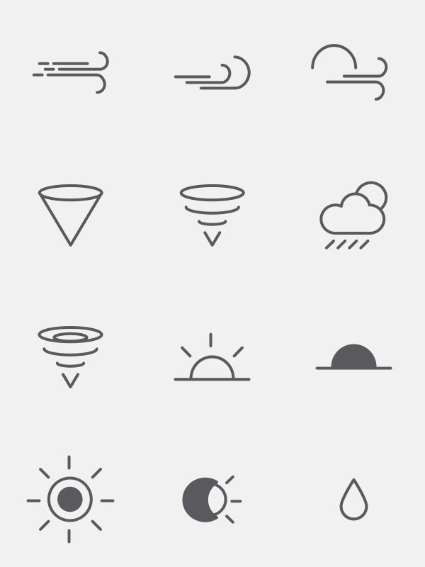 Free Weather Icons by spov , via Behance 아이콘, 그래픽, 앱