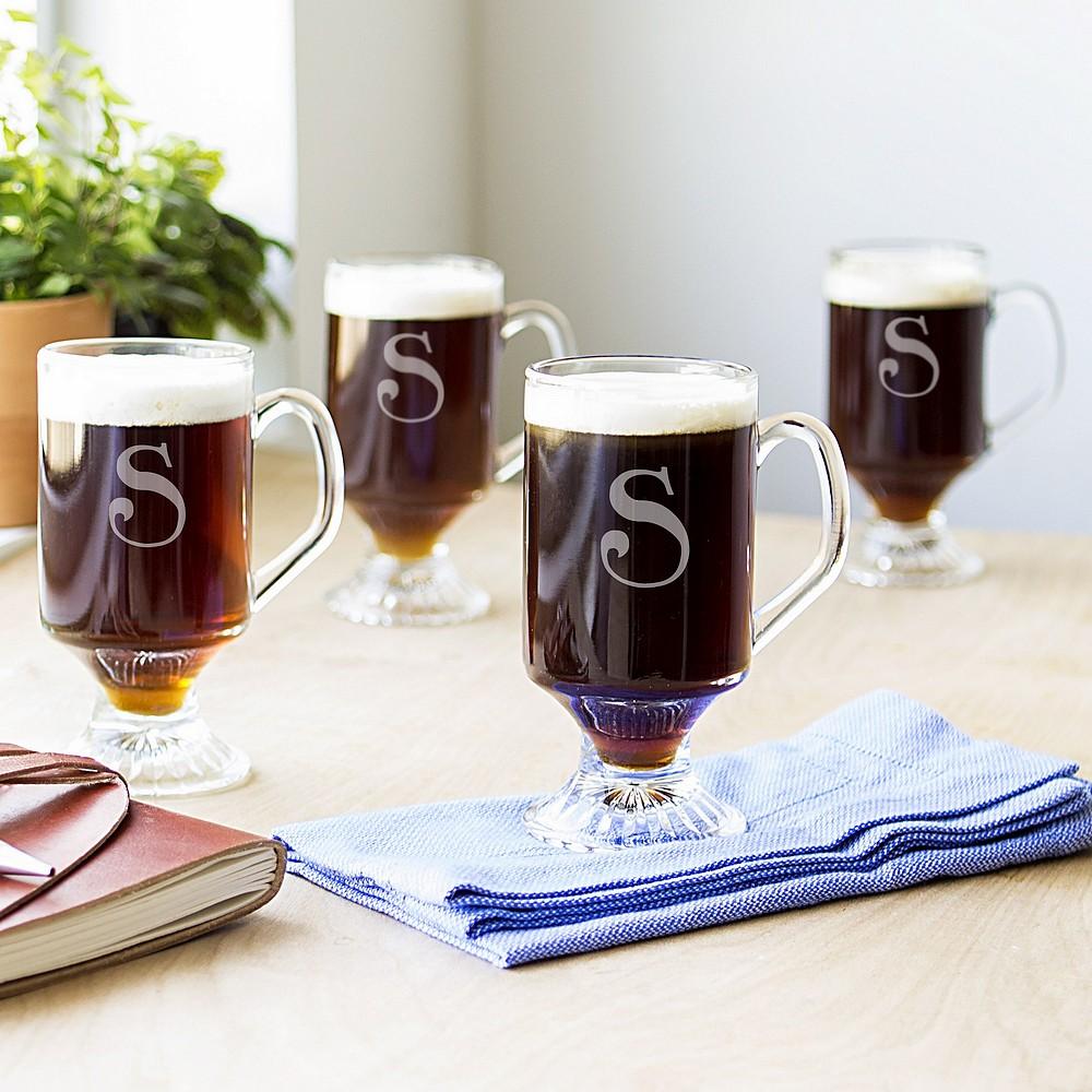 4 pc personalized 10 oz glass irish coffee mug set