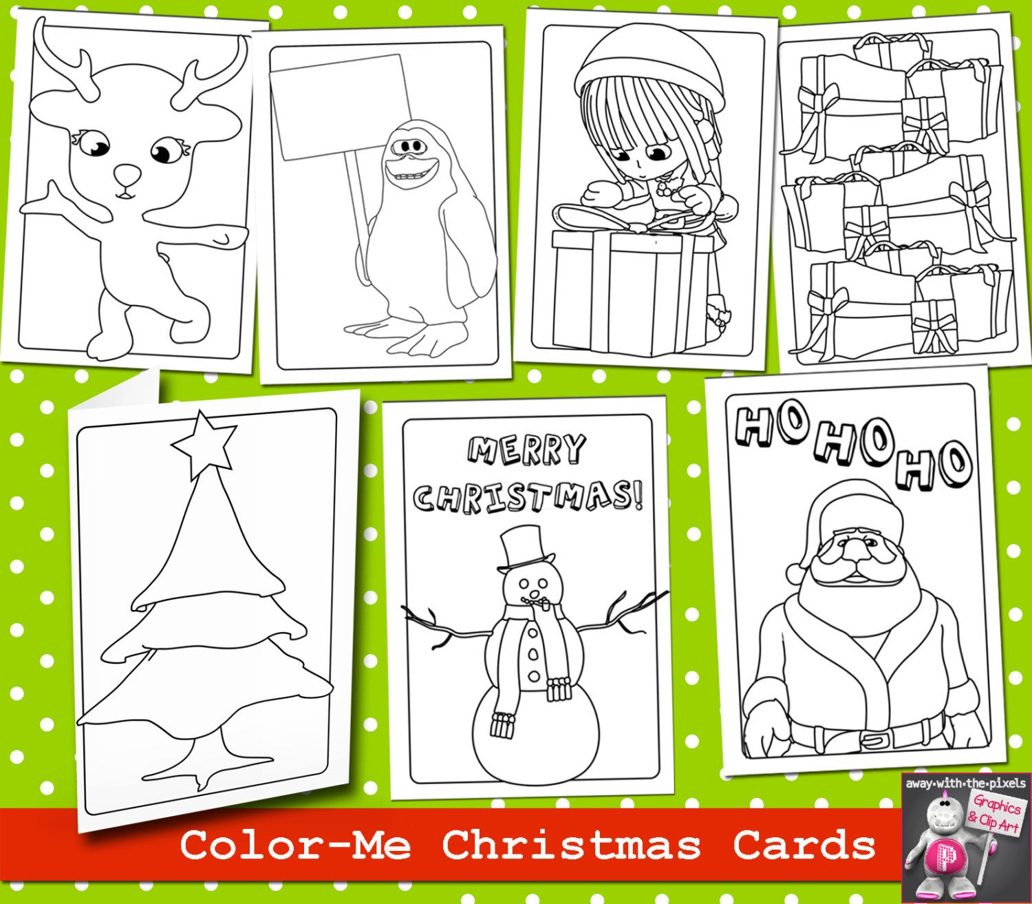 7 coloing page printable christmas card bundle kids cards to color instant download