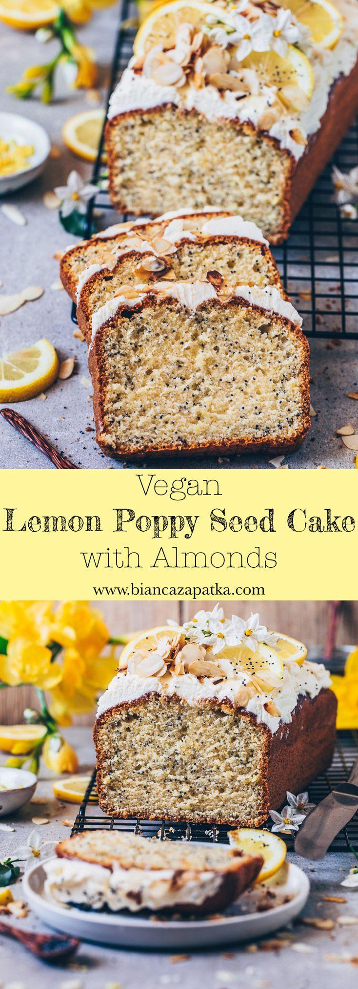 Lemon Poppy Seed Cake - Vegan - Bianca Zapatka | Recipes #lemoncreamcheesefrosting