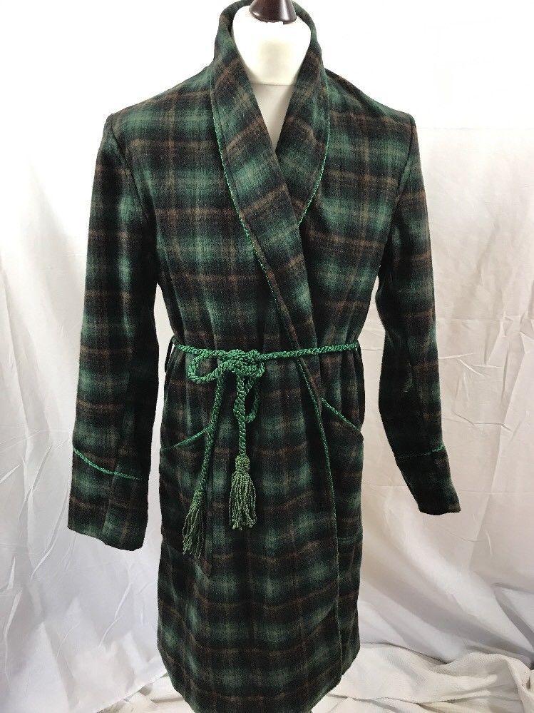 Vintage Green Wool Tartan Plaid Mens Med Dressing Gown Smoking