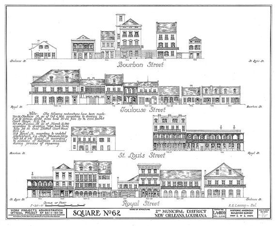 New Orleans French Quarter Block Architectural Drawing Blueprint of - new blueprint program online