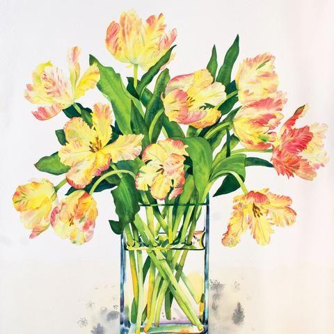 Libretto Tulips by Claire Winteringham, Fine Art Greeting Card, Watercolour and Gouache, Orange Libretto tulips in glass vase