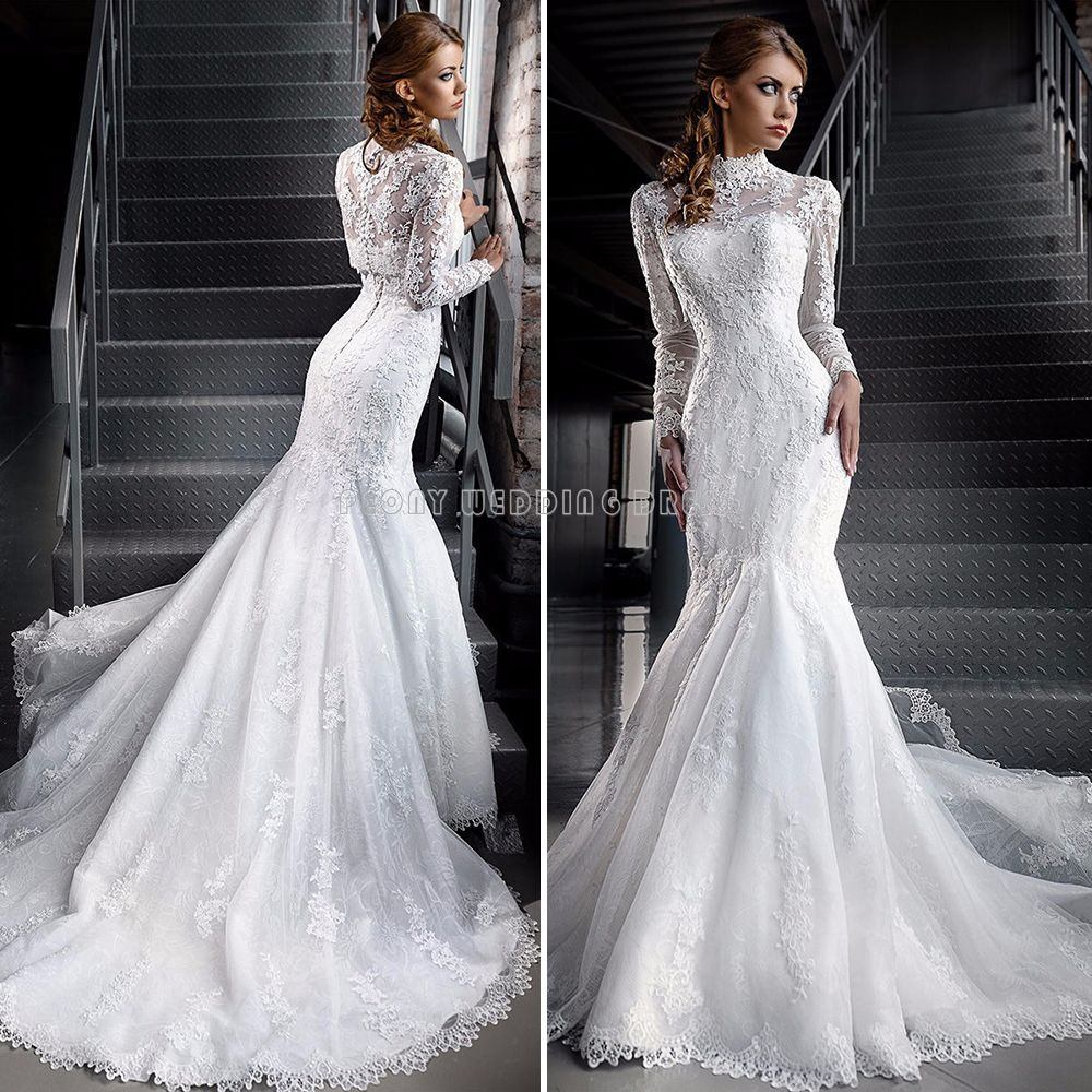 5d48d4adddce2 Love the White Two Piece Lace Mermaid Wedding Dresses High Neck Long Sleeve  Muslim Wedding Dress Muslin Bridal Dresses Wedding Gowns Online !