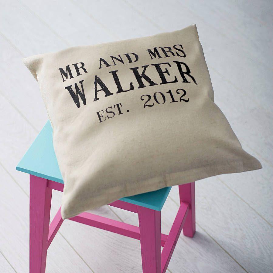 Personalised \'Mr And Mrs\' Wedding Cushion   Anniversaries, Wedding ...