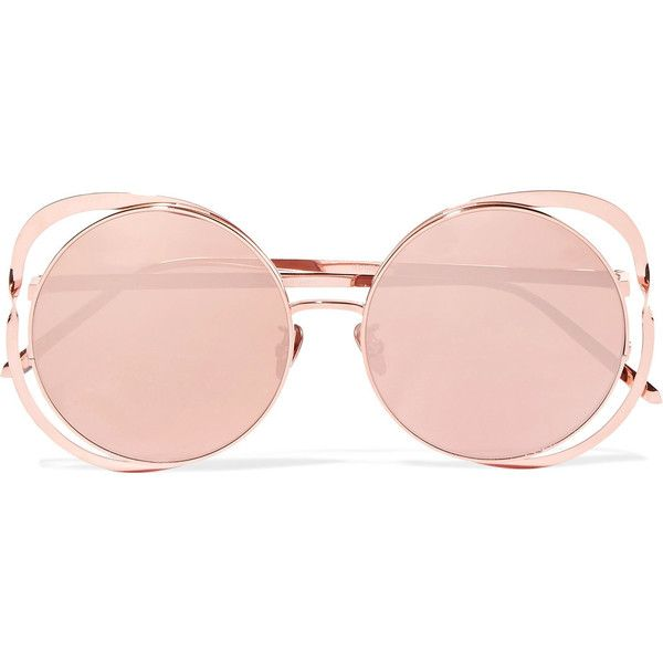 Cat-eye Rose Gold-plated And Acetate Mirrored Sunglasses - Pink Linda Farrow Nj6W8hyT