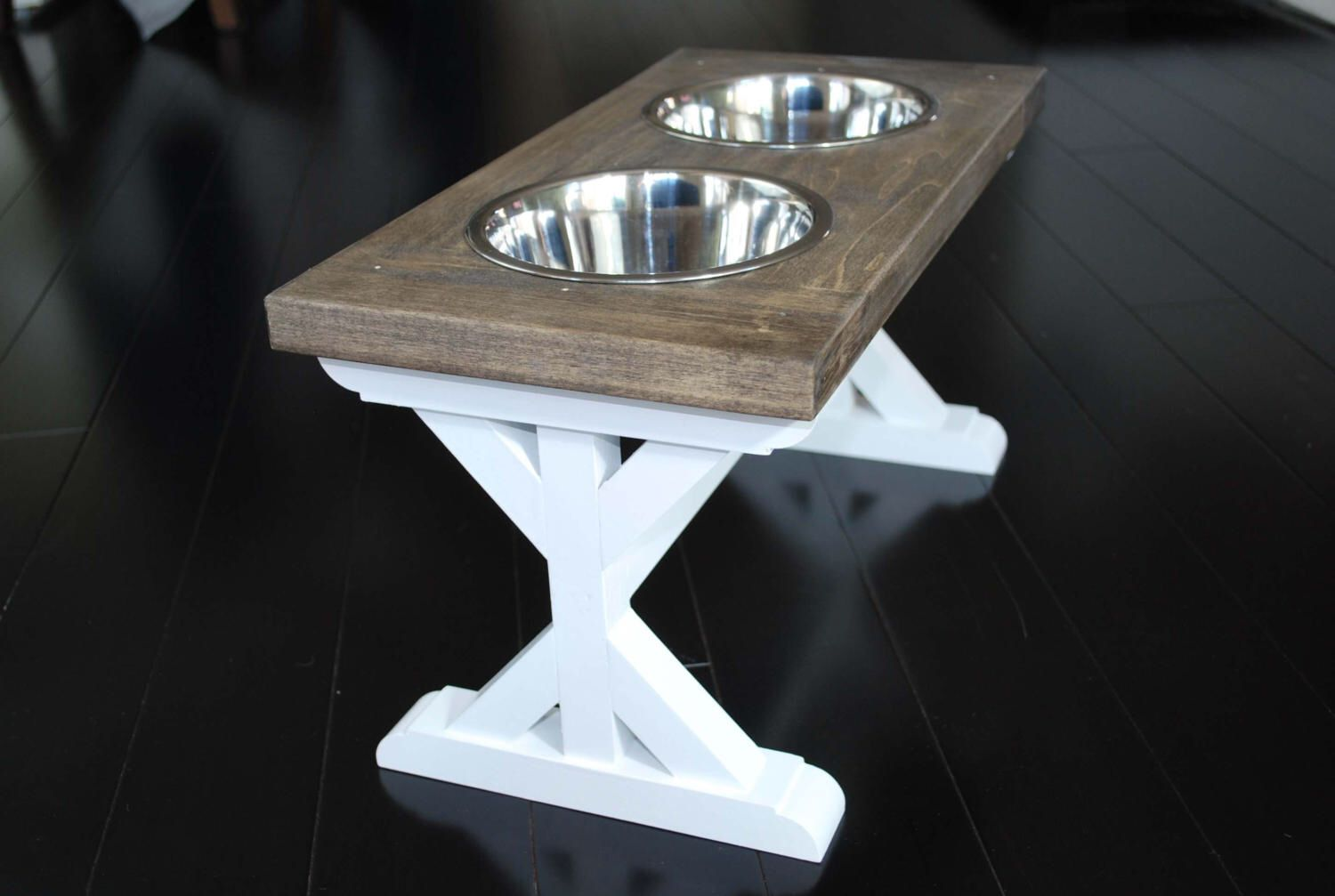 Medium Elevated Dog Bowl Stand Farmhouse Table Trestle Pattern