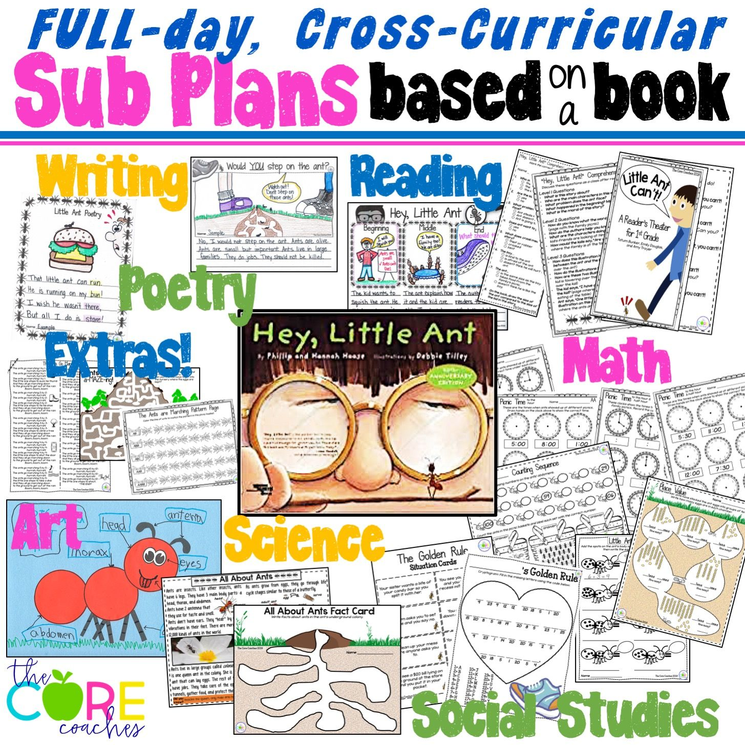 More than you can use in a day! Perfect for a teacher sick-day emergency! Substitute Teaching 1 Book at a Time with Hey Little Ant. By the Core Coaches