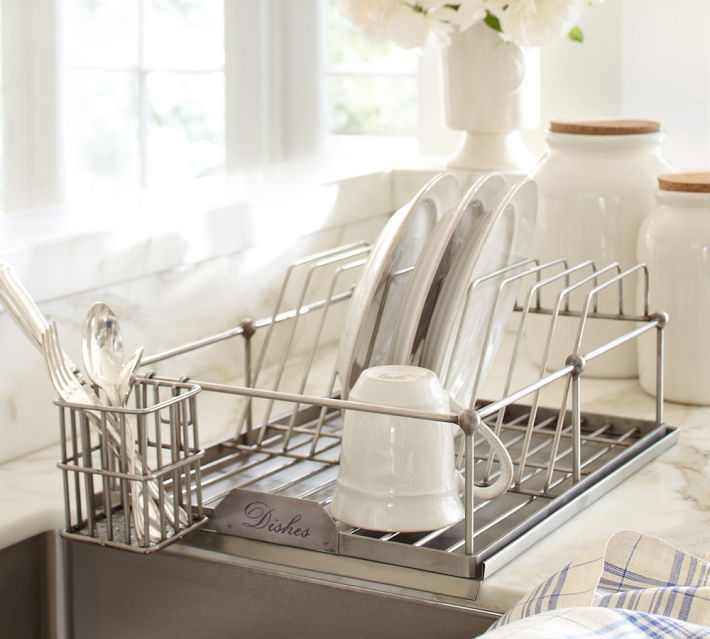 Antique Silver Dish Drying Rack 79 Final 46 99 Online Only Potterybarn 17 W X 13 D 7 H Made Of Iron Stainless Steel An