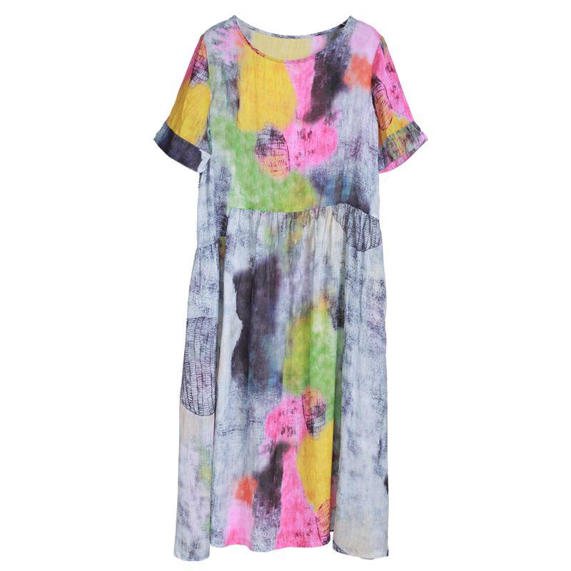 High-Waist Colorful Prints Loose Linen Dress Summer Beach Clothing    #linen #colorful #prints #loose #linen #summer #beach #holiday #resort