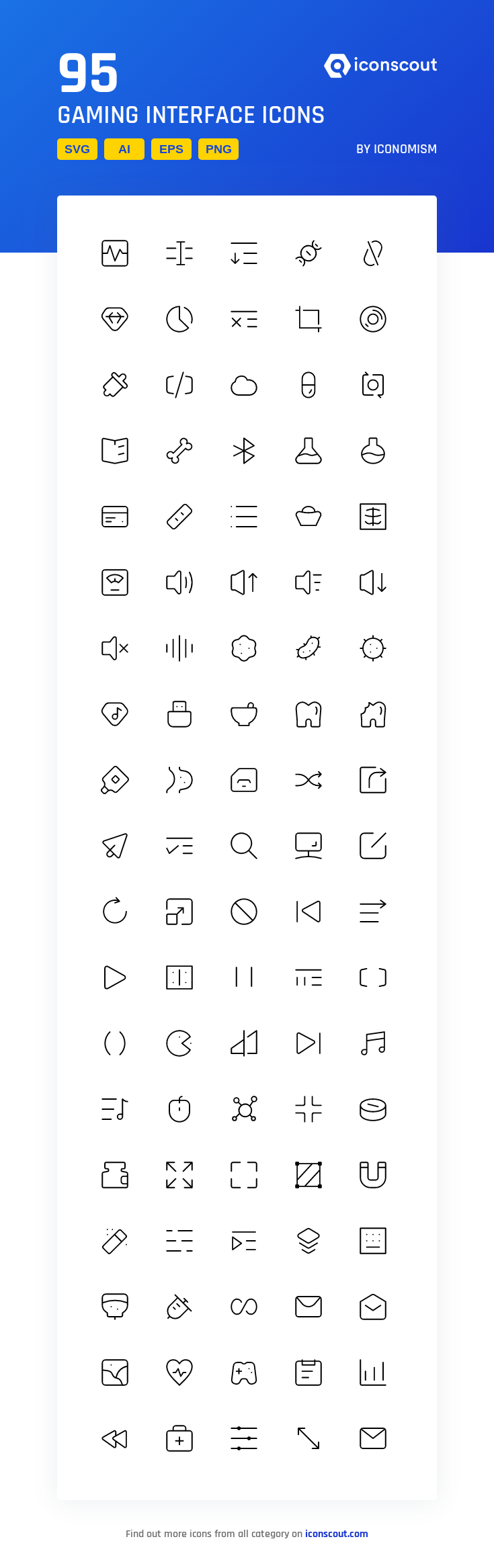 Gaming Interface  Icon Pack - 95 Line Icons #gameinterface