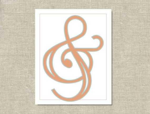Ampersand Print  Coral & Teal by gollymissjolly on Etsy, $12.00
