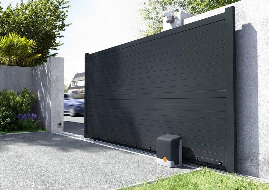 Portail Coulissant Aluminium Lima Gris Anthracite Primo Portail Leroy Merlin Bon Shopping Com Toreinfahrt Eingangstor Design Aussengestaltung