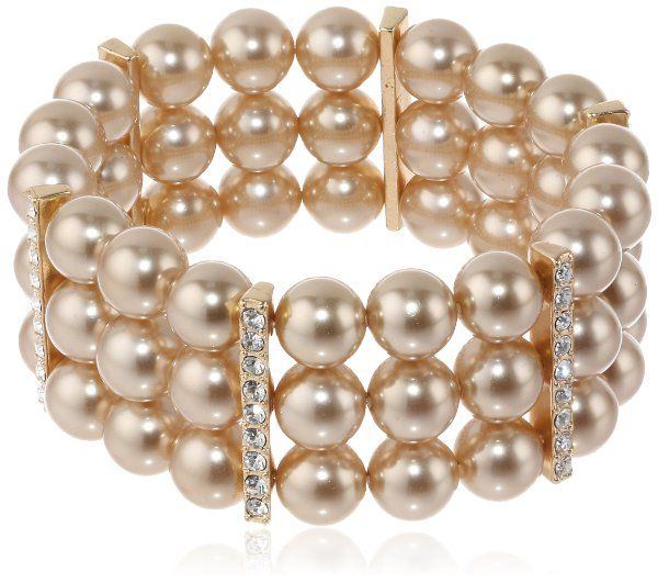 "Simulated Pearl and Crystal Triple-Row Bracelet, 7"":Amazon:Jewelry"