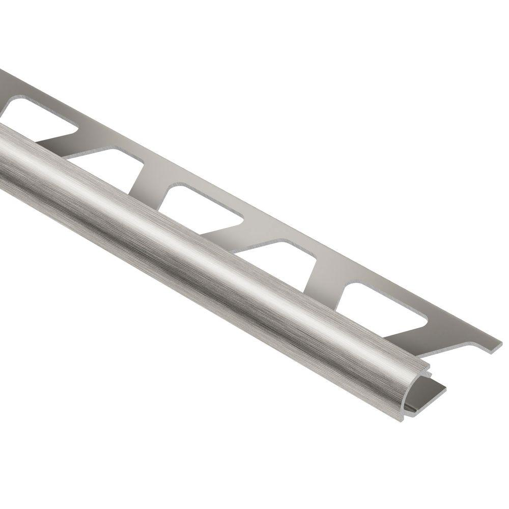 Schluter Rondec Brushed Nickel Anodized Aluminum 5 16 In X 8 Ft 2 1 2 In Metal Bullnose Tile Edging Trim Ro80atgb The Home Depot Bullnose Tile Tile Edge Tile Edge Trim