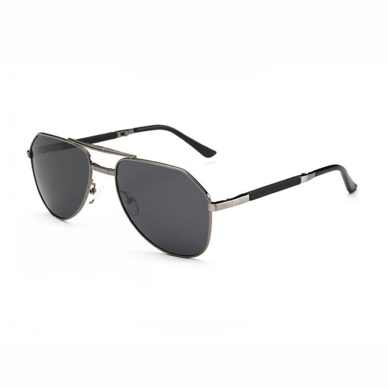 45e7aae029 Polarized Folding Double Bridge 63mm Metal Sunglasses Gun Grey Frame Grey  Lens