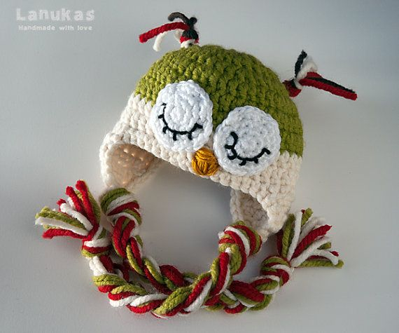 f4b6e90a7 Gorro crochet ganchillo Buho para bebé verde