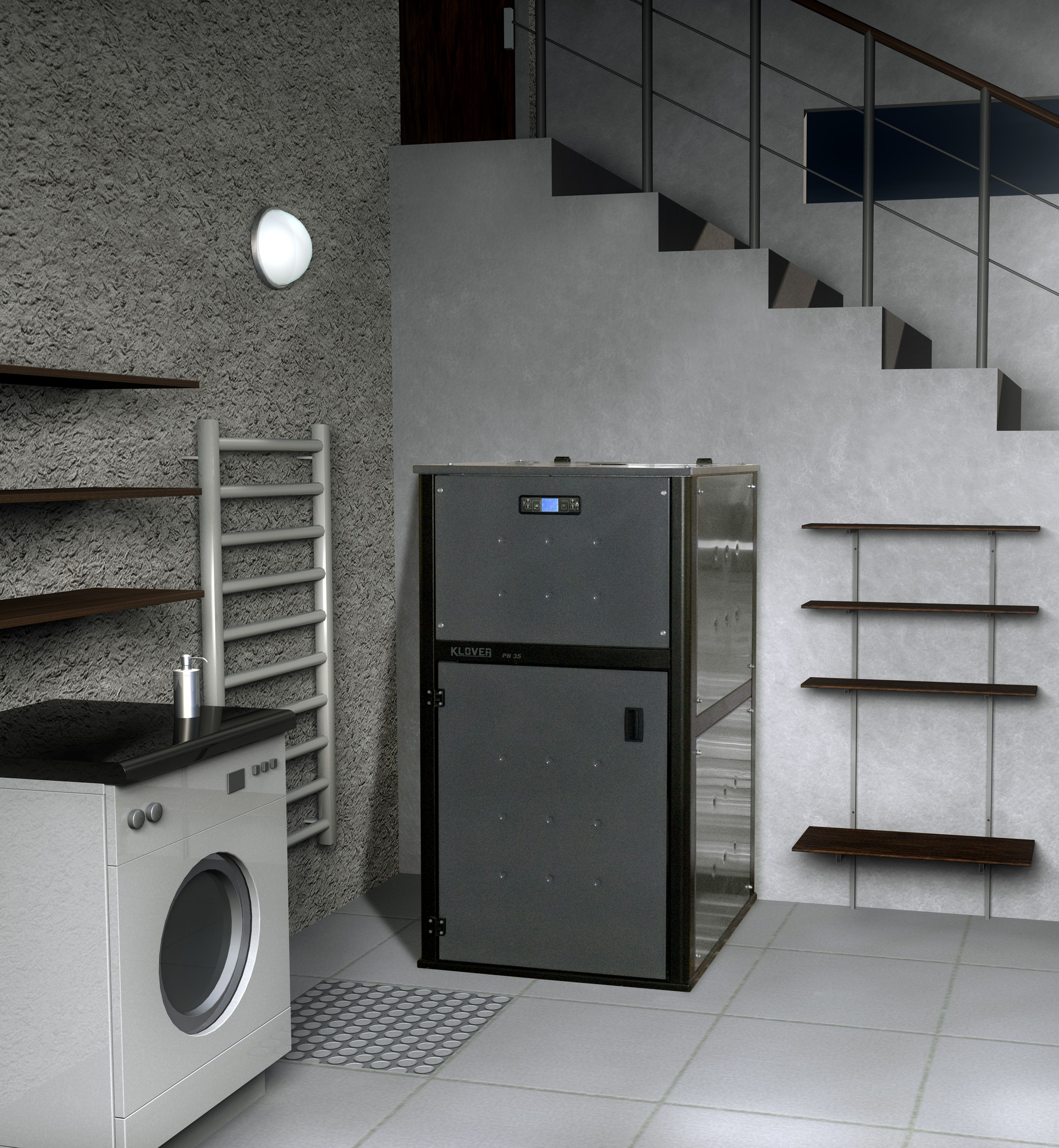 A utility boiler which runs on wood pellets Available in two