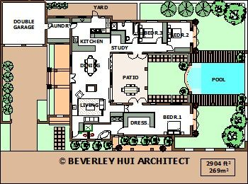 u shaped house plans with pool in the middle courtyard horseshoe design by architect. Black Bedroom Furniture Sets. Home Design Ideas