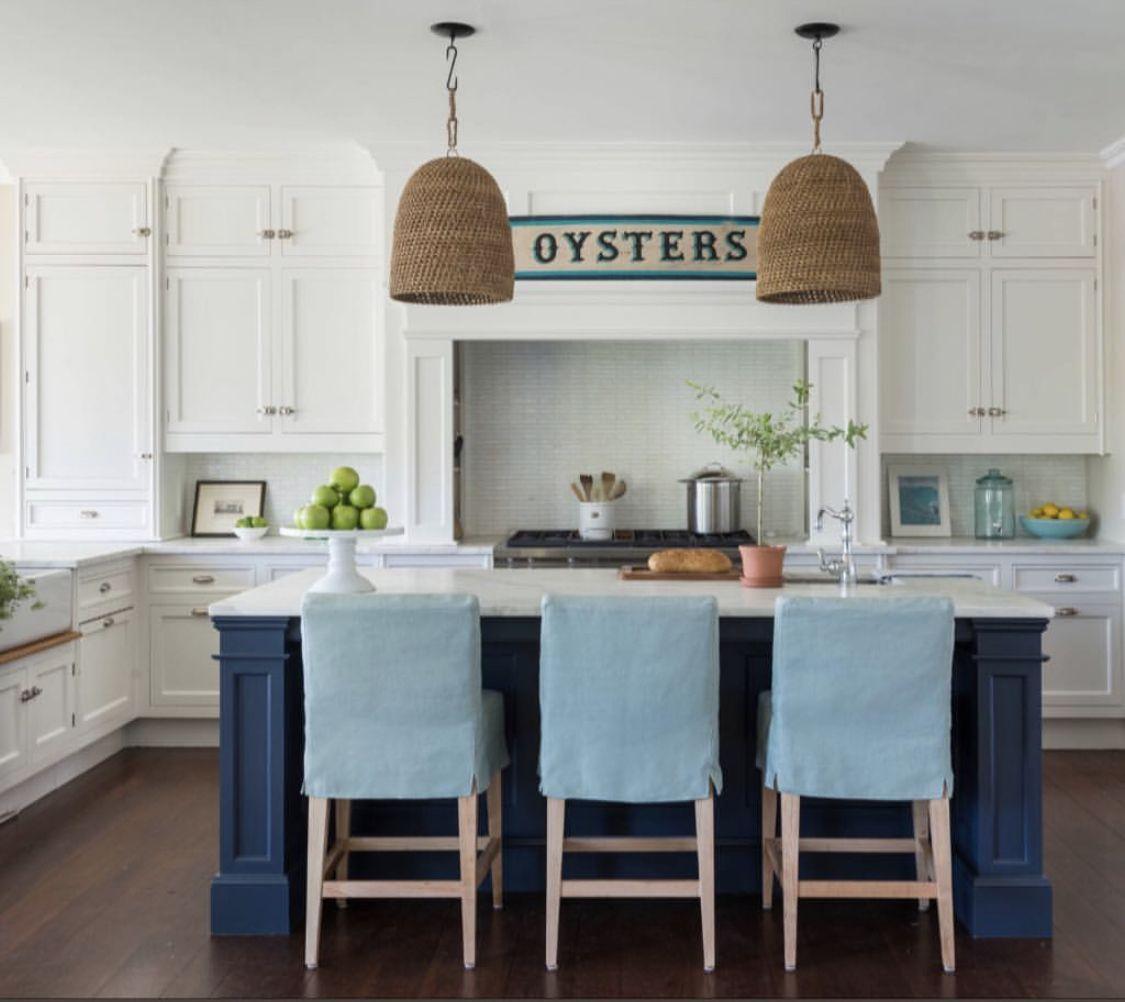 kate jackson in 2020 white coastal kitchen beach house kitchens white kitchen navy island on farmhouse kitchen navy island id=82502