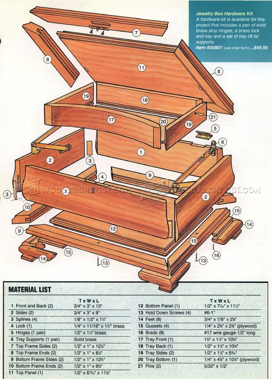 1694 Jewelry Box Plans Other Woodworking Plans And Projects