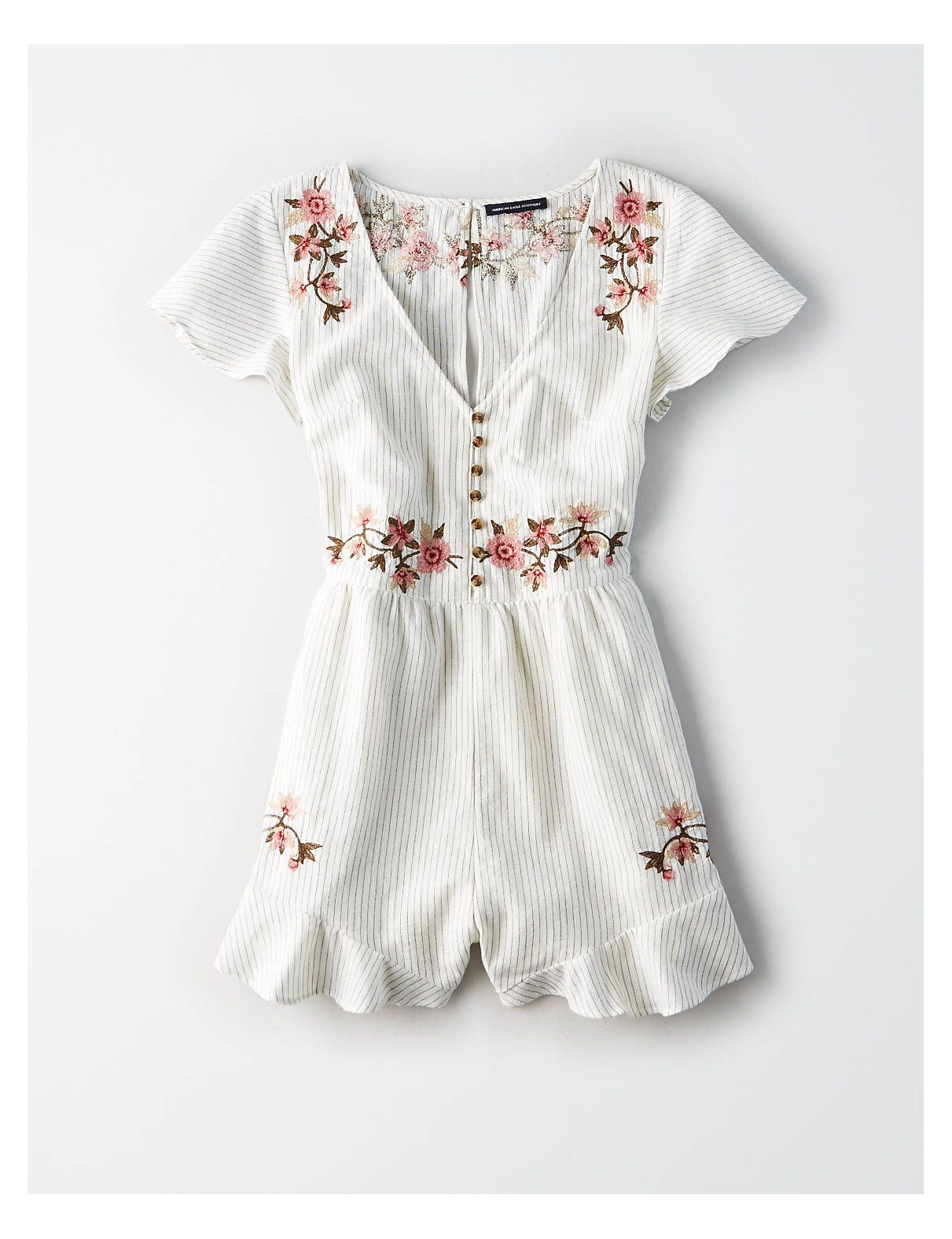750d5a25cd7 AE Button Front Embroidered Romper