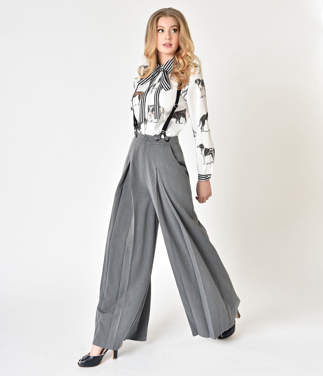 c1f1dbae116 1930s Wide Leg Pants and Beach Pajamas Voodoo Vixen 1940s Style Grey Khloe  Suspender Trousers  62.00 AT vintagedancer.com