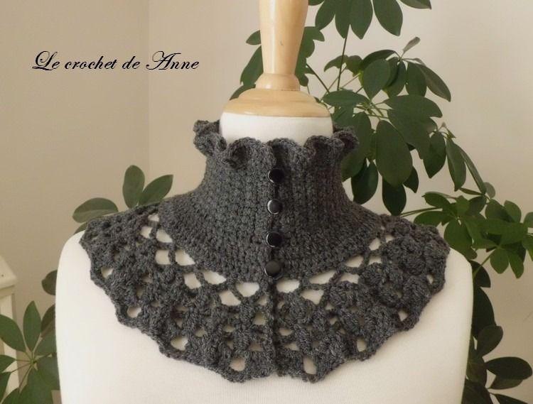 Tour de cou gris foncé , de style Victorien ! : Echarpe, foulard, cravate par le-crochet-de-anne
