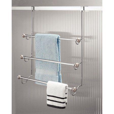 Interdesign York Over The Shower Door Towel Rack For Bathroom Chrome Brushed Silver