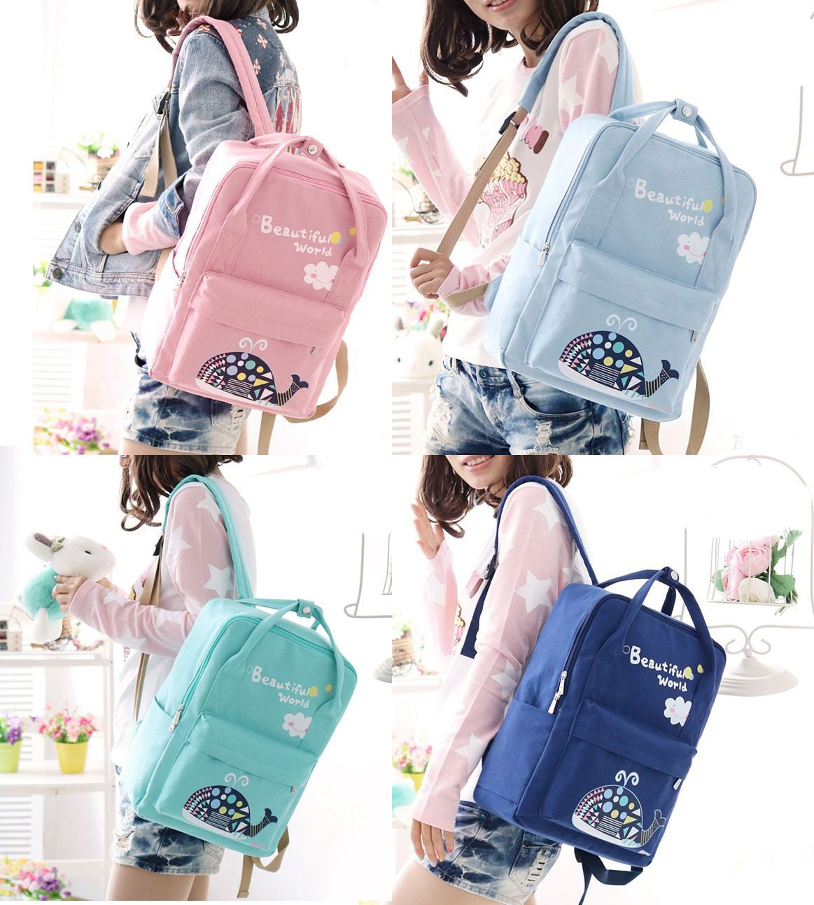 8b5e728b6463 Cute Whale Floral School Bag Backpack Beautiful World Cartoon Canvas  Rucksack backpack for women travel