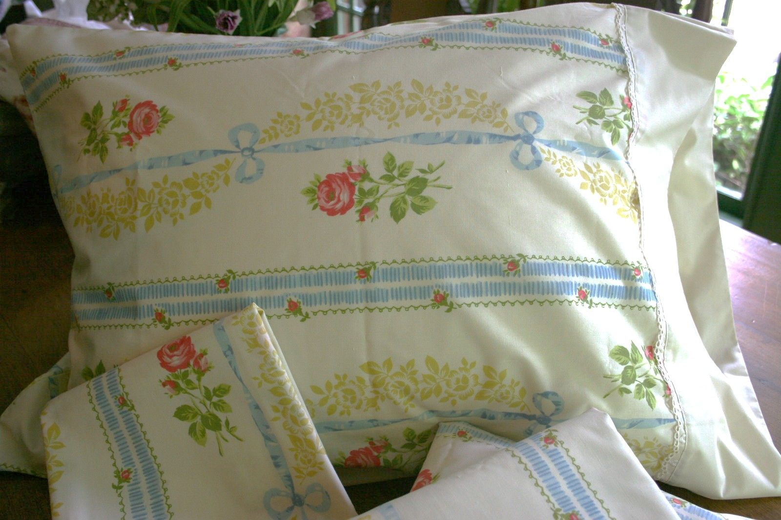 Rose and Blue Ribbon pattern sheet...we had bedspread and curtains too