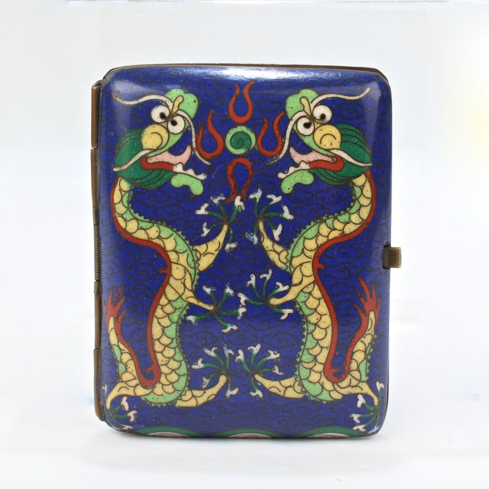 Old Or Antique Chinese Cloisonne Enamel Cigarette Case Or Box Dragons Vr Cigarette Case