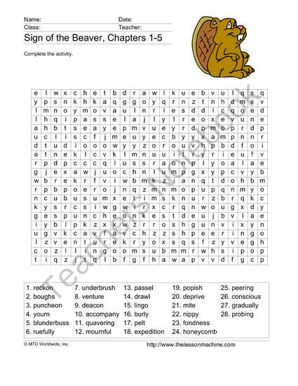 The Sign of the Beaver Word Search Printables from Lesson