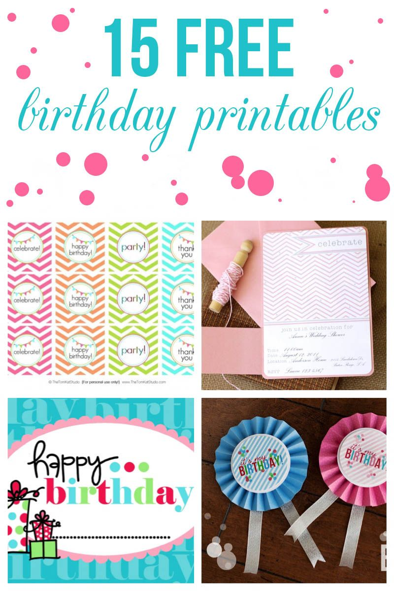 15 free birthday printables featured on iheartnaptime.com...features my free Rainbow Cupcake Toppers!