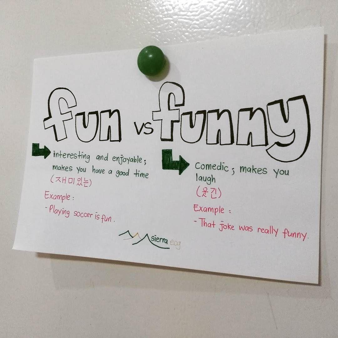Fun vs. Funny - #영어 #공부 팁 - 한국 사람들이 자주 하는 영어 #실수 - 사실 쉬운데 #fun 은 #재밌는 - #funny 는 #웃긴  #분당 #서현 #판교 #강남 에서 하는 #원어민 영어 #회화 그룹 영어 잘하려고 조인합시다!
