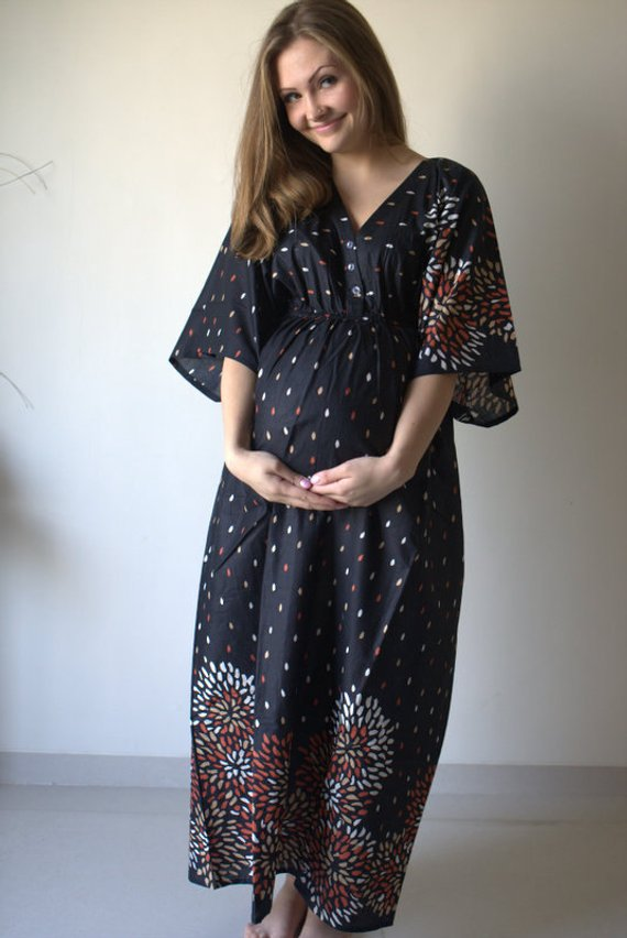 a33f8078b6a37 Black Abstract Floral Buttoned Empire Waist Dress Butterfly Sleeves  Maternity Kaftan Maxi Pregnancy