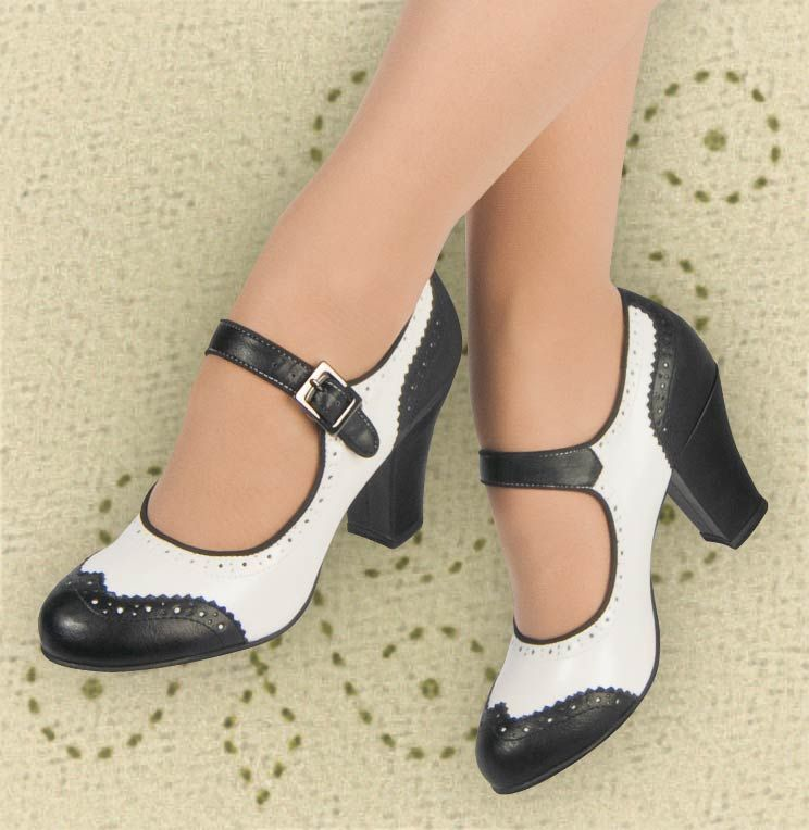 482d19143771b Aris Allen Black and White 1940s Heeled Wingtip Mary Jane Swing ...