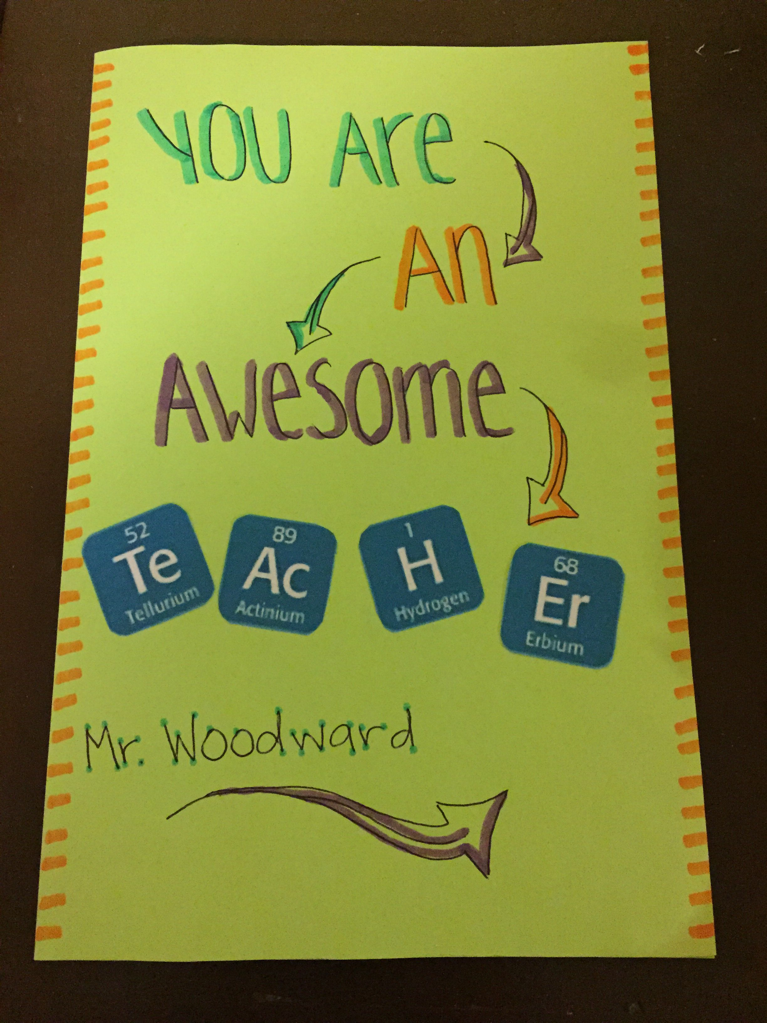 Thank You Card For Science Teachers Giftspresents Pinterest