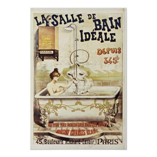 Vintage Bath Poster Advertisement French De Bain Zazzle