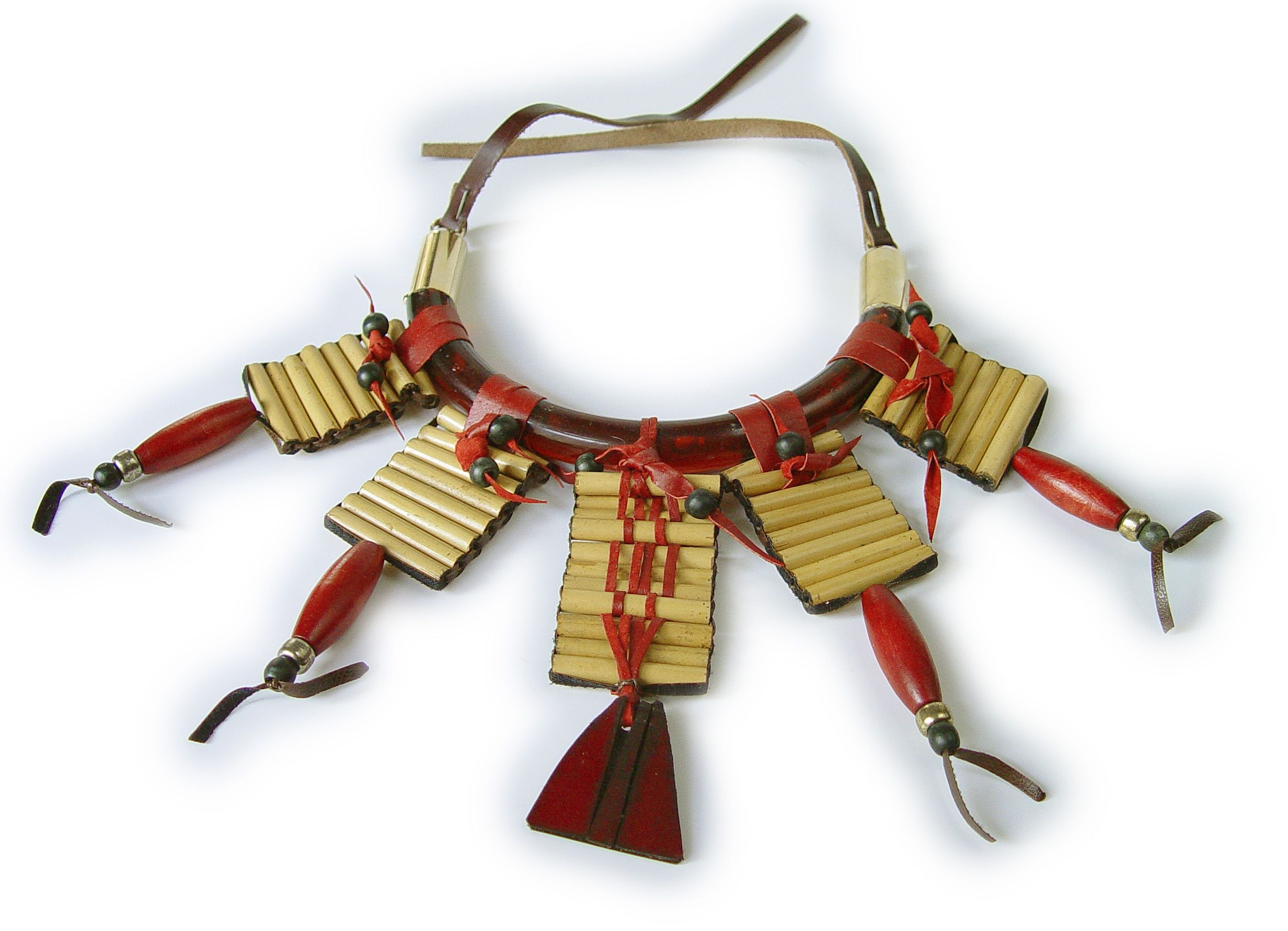 Bamboo, beads and red leather pendant necklace