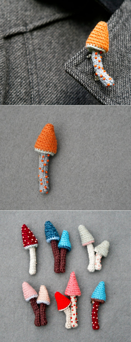 No Free Pattern Mushroom Crochet Brooch In Orange