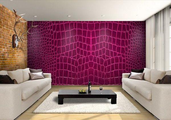 Custom Pink Snake Print Wallpaper Murals in Modern Living Room
